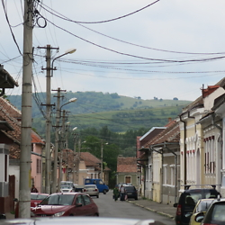 View of the surrounding hills from one of the lanes in the historic center of Făgăraș. CREDIT: Benjamin Fox-Rosen.
