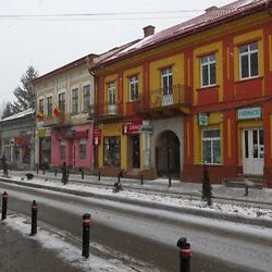 Buildings in the center of the market town of Radăuţi. CREDIT: Julie Dawson