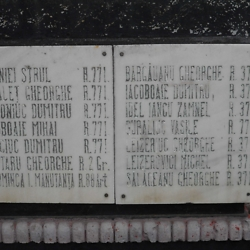 Close-up of names of soldiers from Burdujeni who fell in World War I; several Jewish names are listed. CREDIT: Julie Dawson