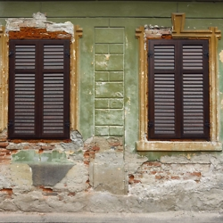 Shuttered windows in Medias' old town. CREDIT: Timothy Ryan Mendenhall