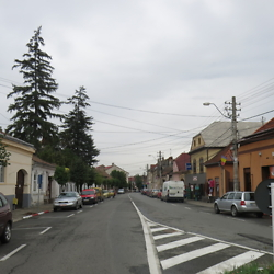 Looking down today's Mihai Eminescu Street, renamed Street of Jewish Martyrs for a short time after World War II. Many Jews lived in this neighborhood prior to the war. CREDIT: Benjamin Fox-Rosen.