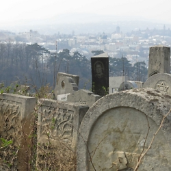 Jewish cemetery overlooking the town of Chernivtsi. CREDIT: Timothy Ryan Mendenhall