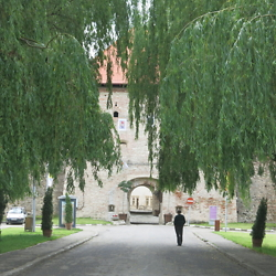 Entrance to the castle in Făgăraș. CREDIT: Benjamin Fox-Rosen.