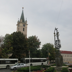 The German church and violin sculpture. Reghin is known for its string instrument factories. CREDIT: Benjamin Fox-Rosen.