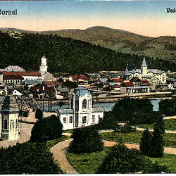 Postcard of Vatra Dornei, casino to the left, town hall in the background, train station on the opposite side of the river. CREDIT: From the private archive of LookArt Graphics - Chirilus