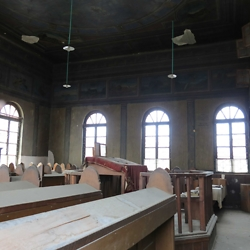 Inside the remaining shul in Gura Humorului. CREDIT: Timothy Ryan Mendenhall