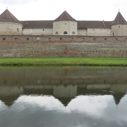 Castle and moat in Făgăraș. CREDIT: Benjamin Fox-Rosen.