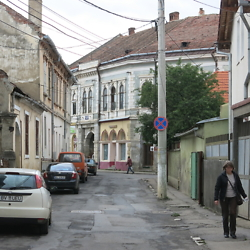 Street in the historic center of Făgăraș. CREDIT: Benjamin Fox-Rosen.