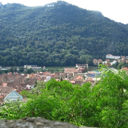 View over the old town and the Brasov sign, from near the White Tower. CREDIT: Timothy Ryan Mendenhall