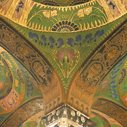 The ceiling of the Cultural Palace (Kultúrpalota, Palatul Culturii) in Târgu Mures. CREDIT: Julie Dawson.